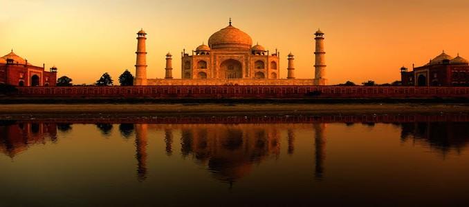 Taj Mahal sunset with reflections