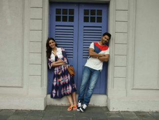 "Singapore: Actors Varun Dhawan and Alia Bhatt during the shooting of their upcoming film ""Badrinath Ki Dulhaniya"" in Singapore."