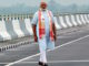 Assam: Prime Minister Narendra Modi at Dhola-Sadia Bridge across River Brahmaputra, in Assam on May 26, 2017.