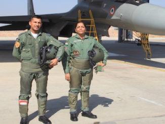 Jodhpur: Defence Minister Nirmala Sitharaman in front of Sukhoi 30MKI at Jodhpur Air Force Station in Rajasthan on Jan 17, 2018.