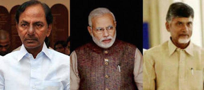Narendra Modi KCR and Chandrababu Naidu